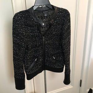 Club Monaco tweed and leather jacket